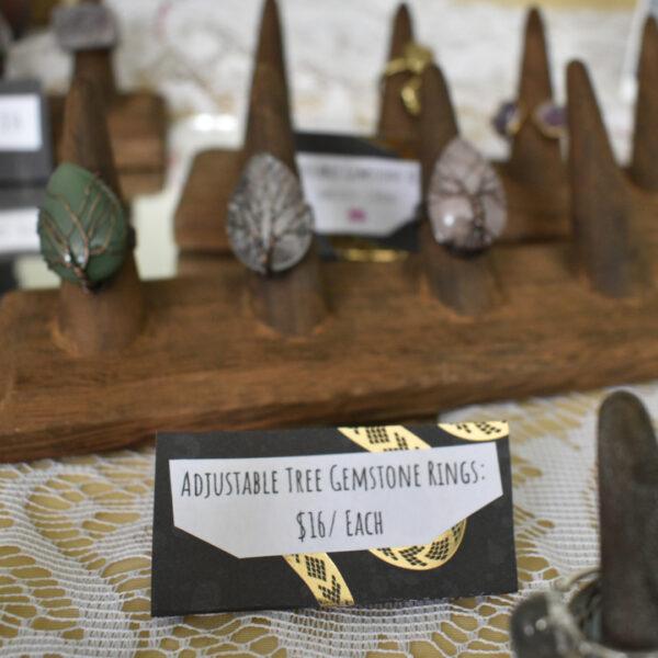 Adjustable Tree Gemstone Rings